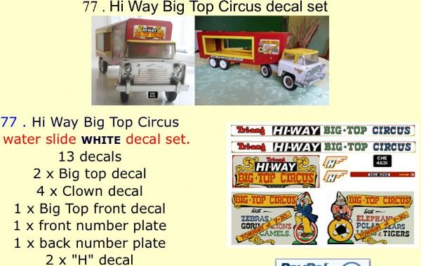 77 . Tri-ang Hi Way Big Top Circus decal set